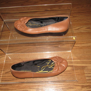 Sam & Libby Brown Bow Leather Ballet Flats Size 8